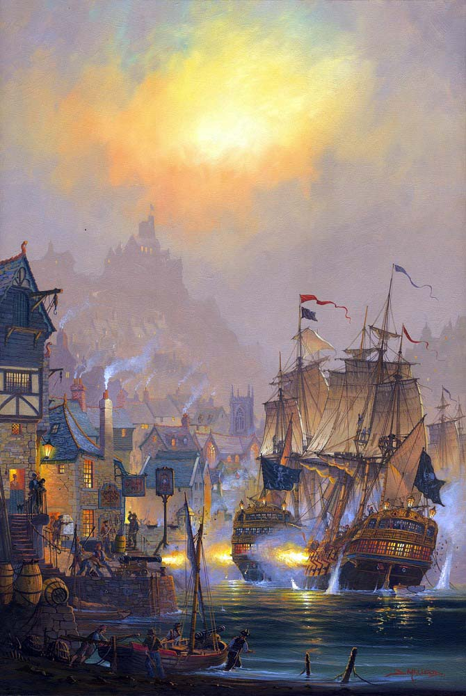 Battle in the bay.  A painting by St Ives Artist Donald MacLeod Maritime Art