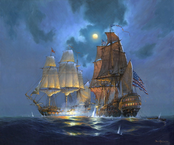 Bonhomme Richard and HMS Serapis.  A painting by St Ives Artist Donald MacLeod Maritime Art