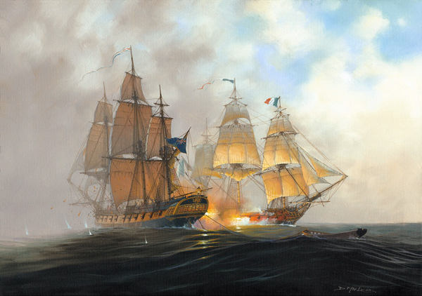 HMS Surorise and the Acheron. Maritime Art By St Ives Artist Donald MacLeod
