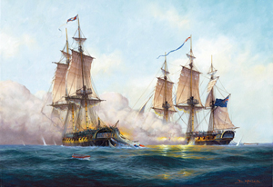 HMS Nymphe and Cleopatra.  A painting by Donald MacLeod