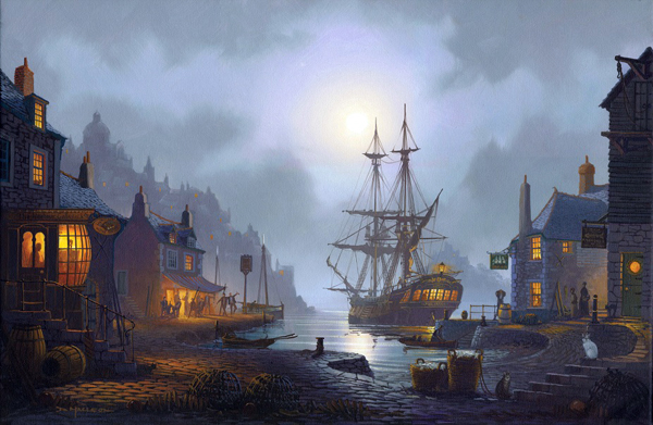 Moonlight Harbour A painting by St Ives Artist Donald MacLeod Maritime Art