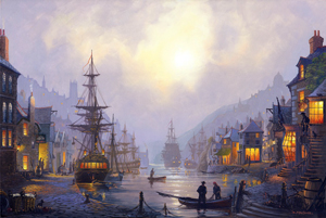 Old Cornish Quayside.  Maritime Art by St Ives Artist Donald MacLeod.