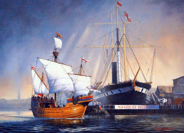 Atalntic Pioneers.  A maritime  painting by Donald MacLeod.