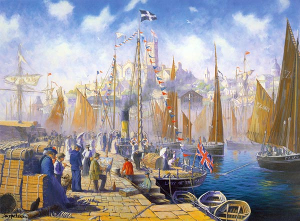 Morning Departure.  A maritime painting by Donald MacLeod