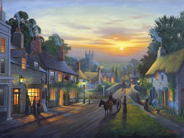 Village Sunset. A painting by Donald MacLeod